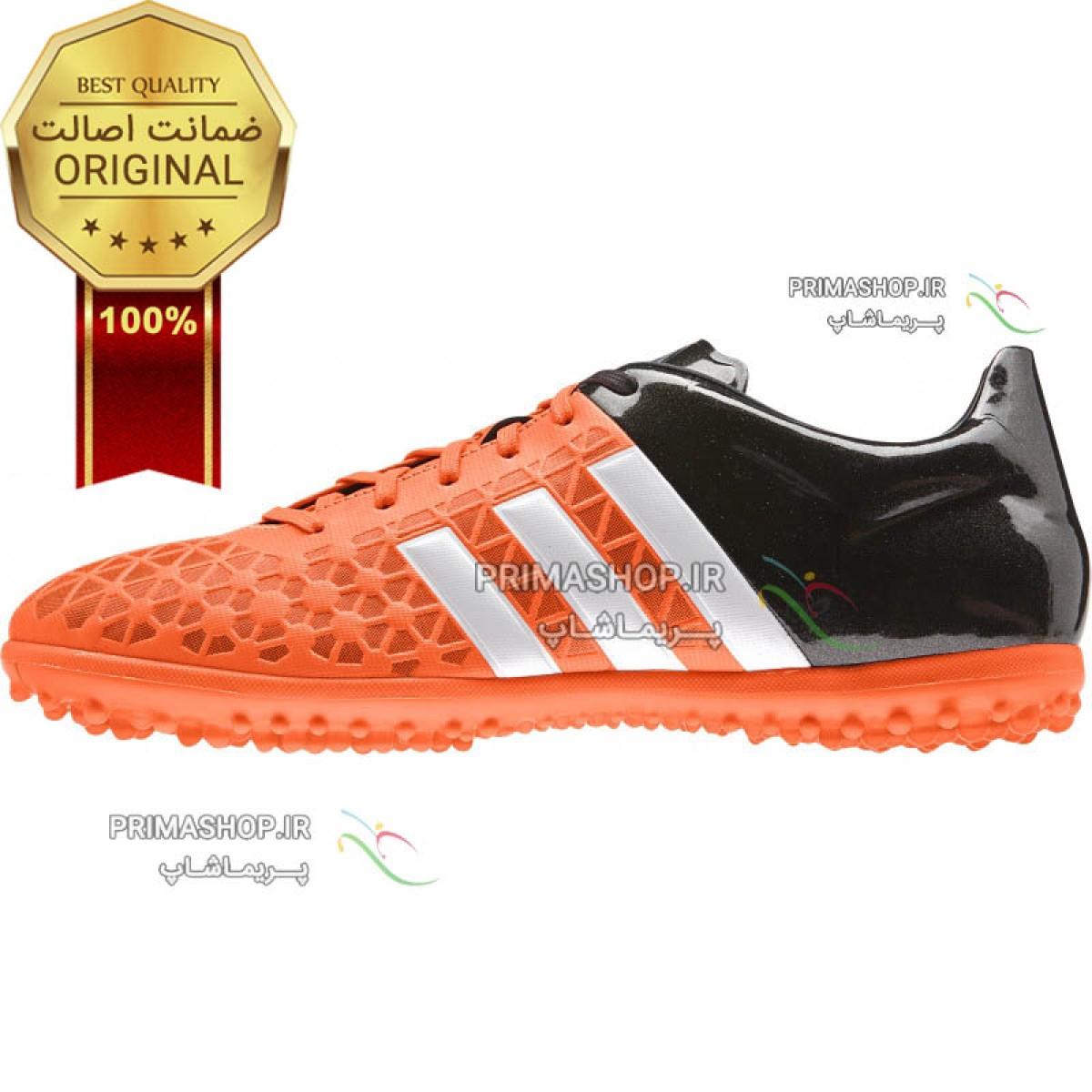 کفش اورجینال آدیداس ایس 15.3نارنجی  مشکی  چمن مصنوعی ace 15.3 tf