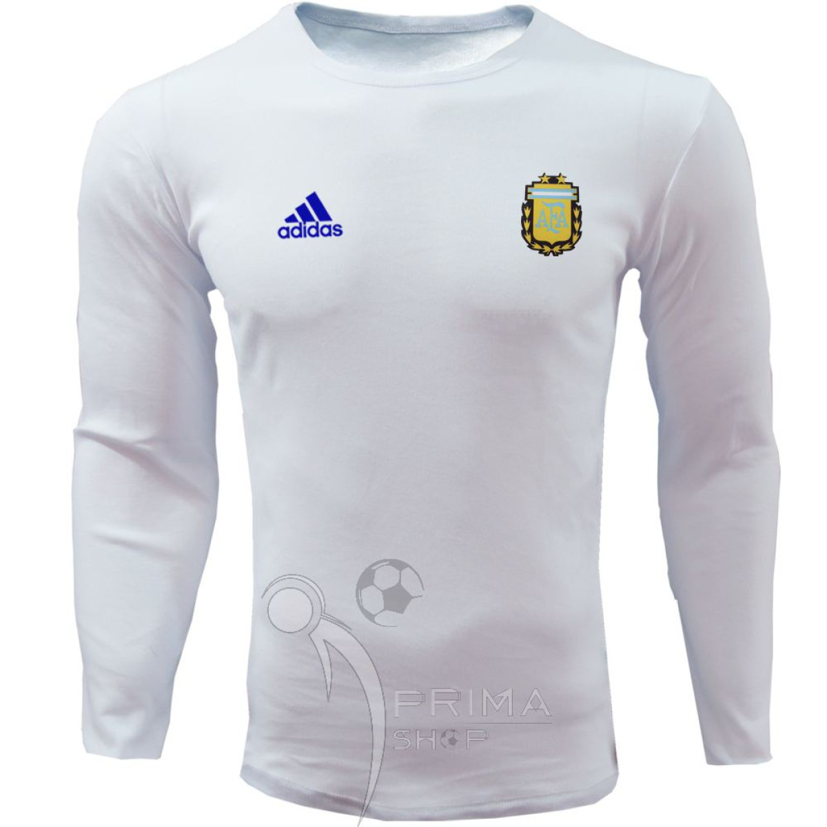 لباس هواداری آرژانتین سفید یقه گرد آستین بلند