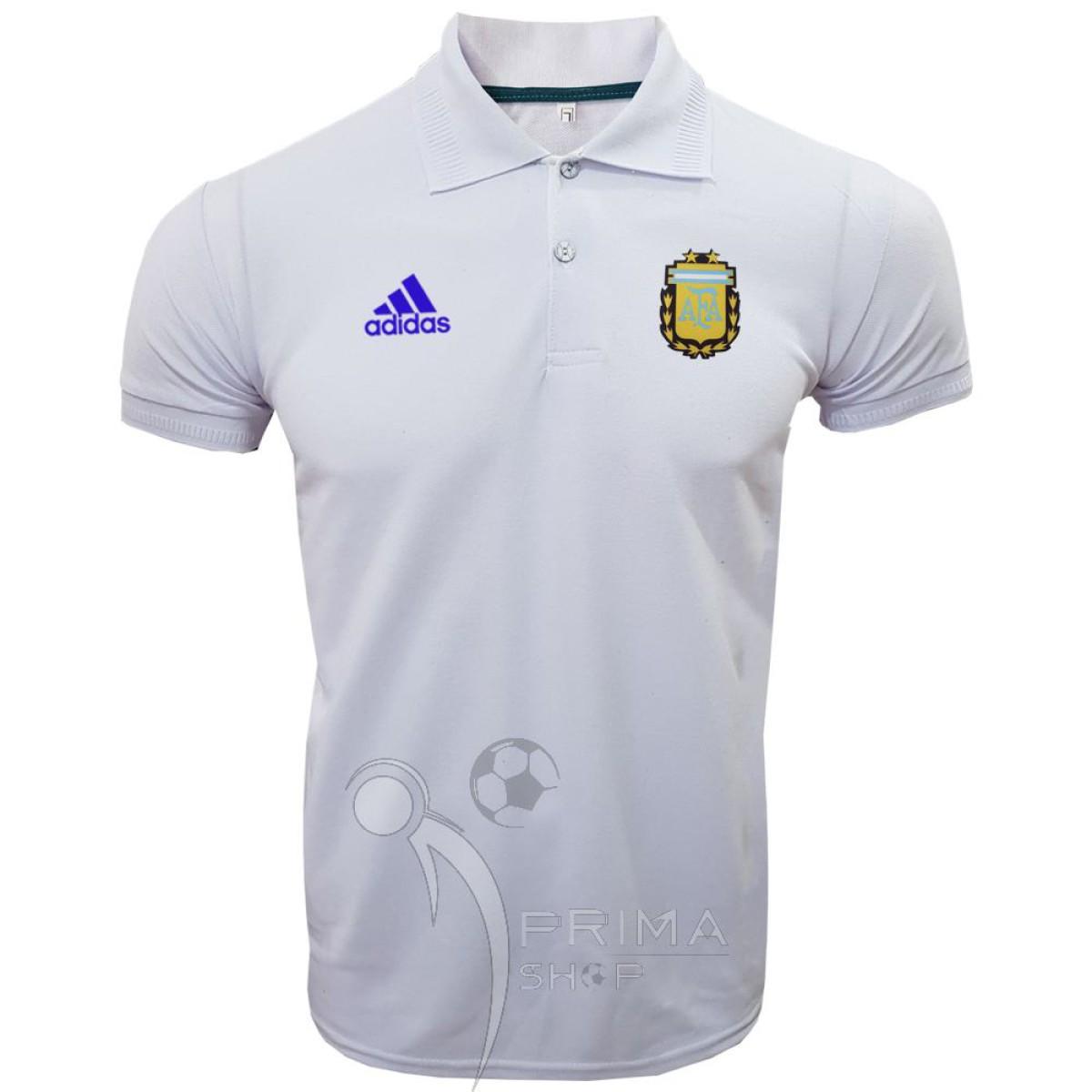 پولوشرت آرژانتین سفید یقه دار دو دکمه