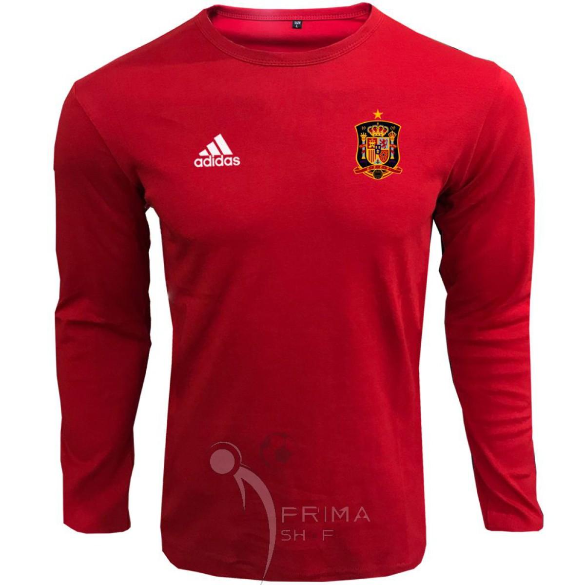 لباس هواداری اسپانیا  قرمز یقه گرد آستین بلند