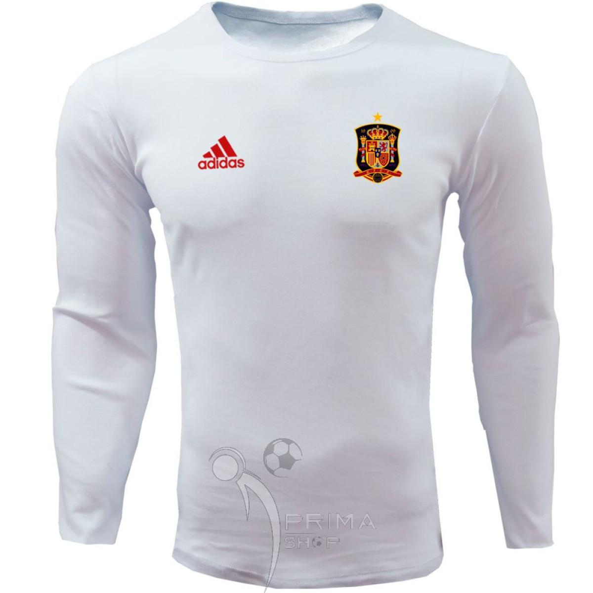لباس هواداری اسپانیا  سفید یقه گرد آستین بلند