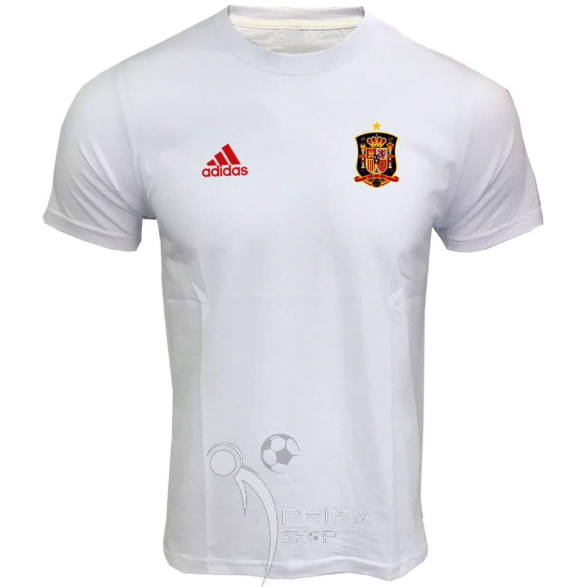 لباس هواداری اسپانیا  سفید آستین کوتاه
