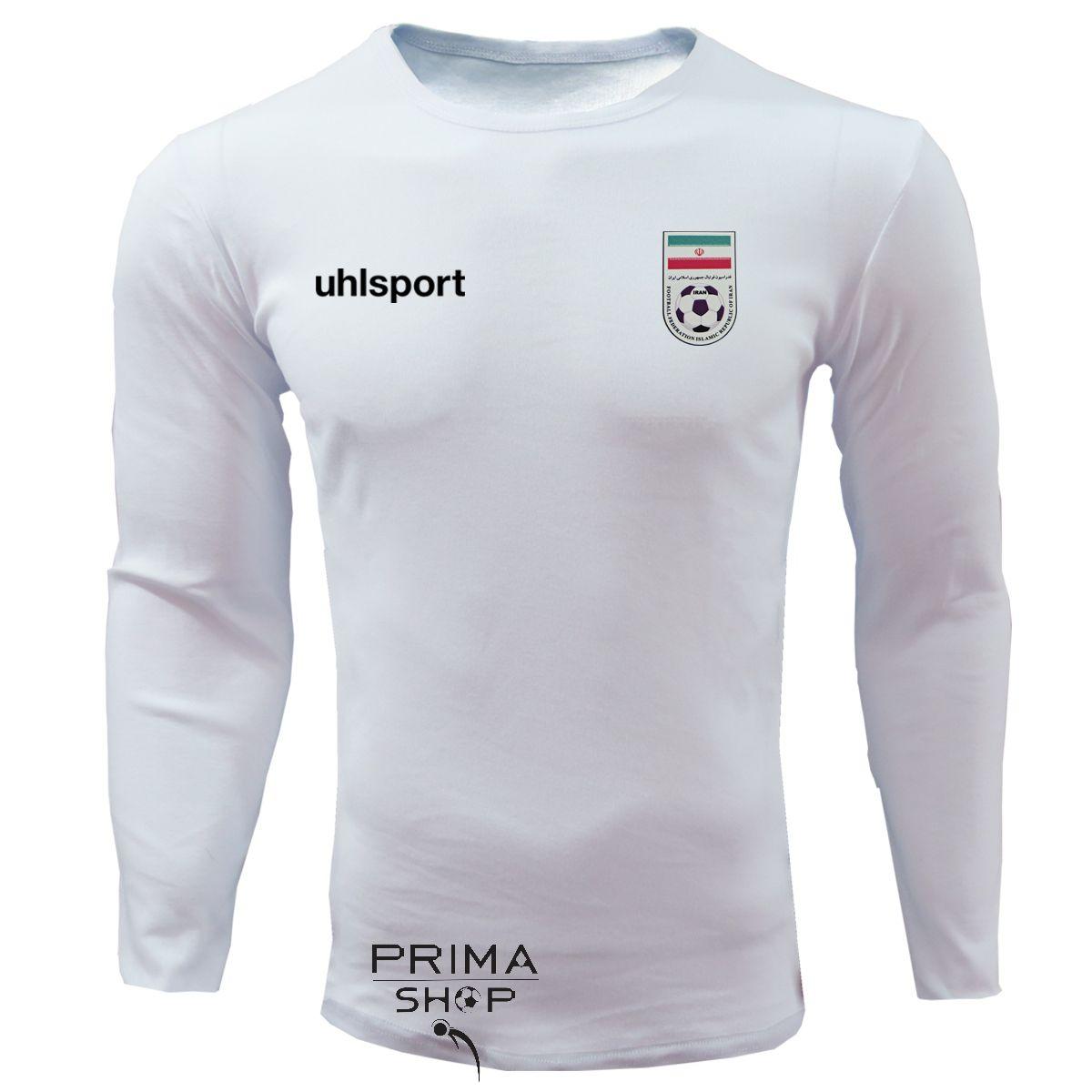 لباس هواداری ایران سفید یقه گرد آستین بلند