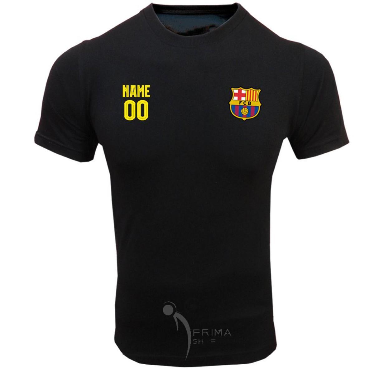 لباس هواداری بارسلونا مشکی نام دلخواه روی سینه آستین کوتاه