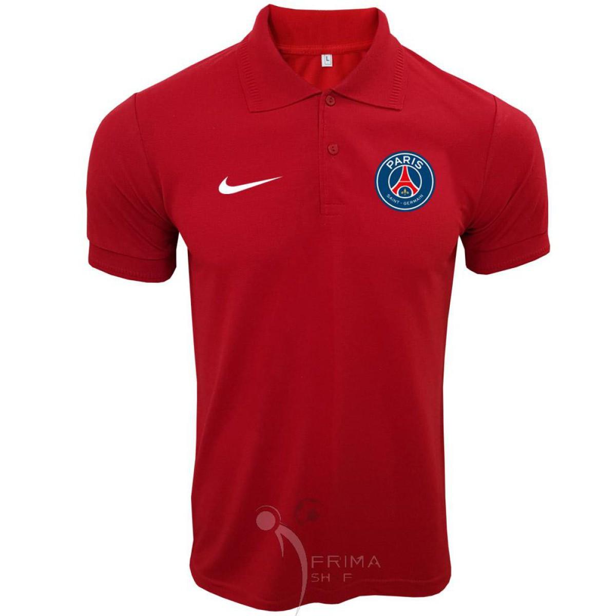 پولوشرت پاریس سن ژرمن قرمز یقه دار دو دکمه