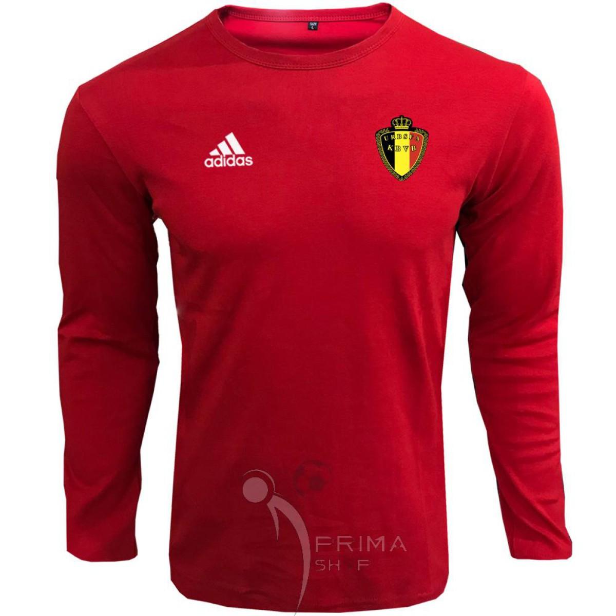 لباس هواداری بلژیک قرمز یقه دار آستین بلند