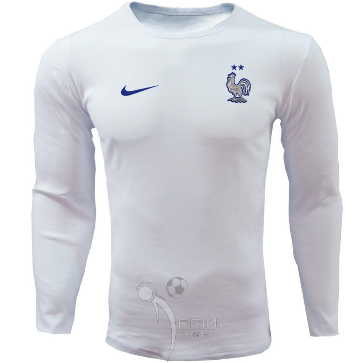 لباس هواداری فرانسه سفید تیشرت آستین بلند