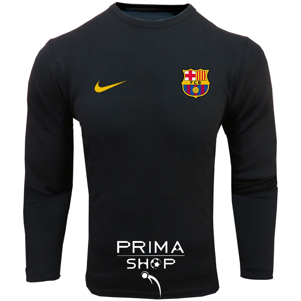 لباس هواداری بارسلونا مشکی   تیشرت آستین بلند